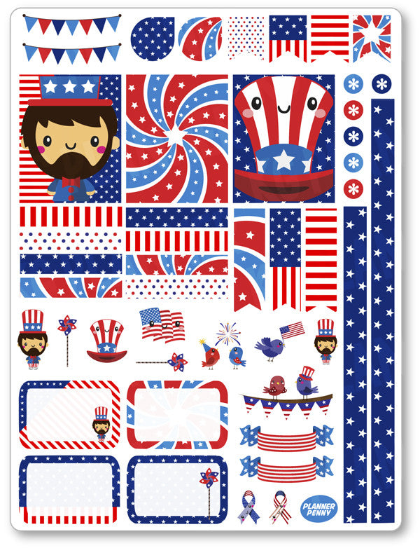 Uncle Sam Decorating Kit PDF PRINTABLE Planner Stickers - Planner Penny