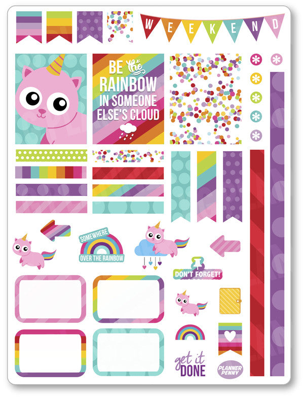 Unicorn Kitty Decorating Kit PDF PRINTABLE Planner Stickers