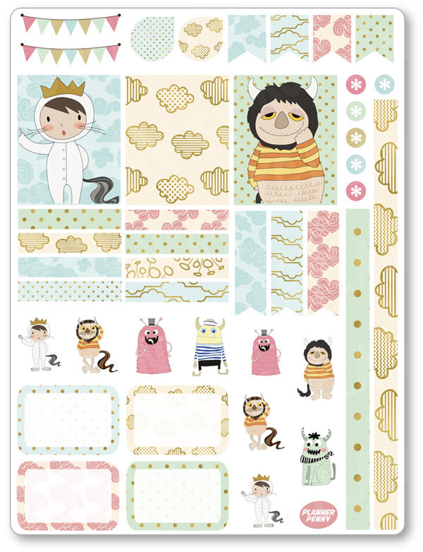 Wild Things Decorating Kit PDF PRINTABLE Planner Stickers - Planner Penny