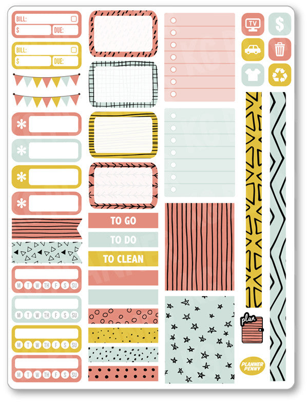 Doodles Functional Kit PDF PRINTABLE Planner Stickers - Planner Penny