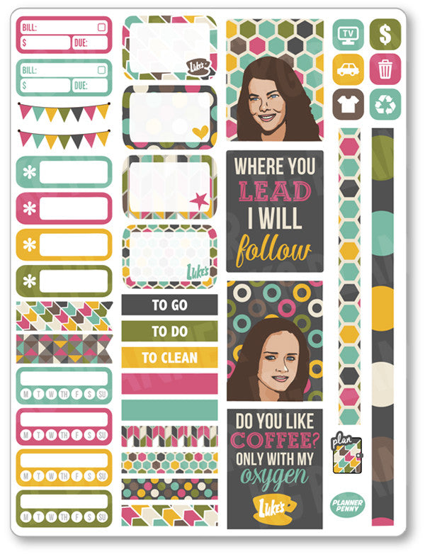 Gilmore Girls Functional Kit PDF PRINTABLE Planner Stickers - Planner Penny