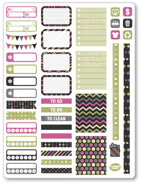 Pink Green Functional Kit PDF PRINTABLE Planner Stickers