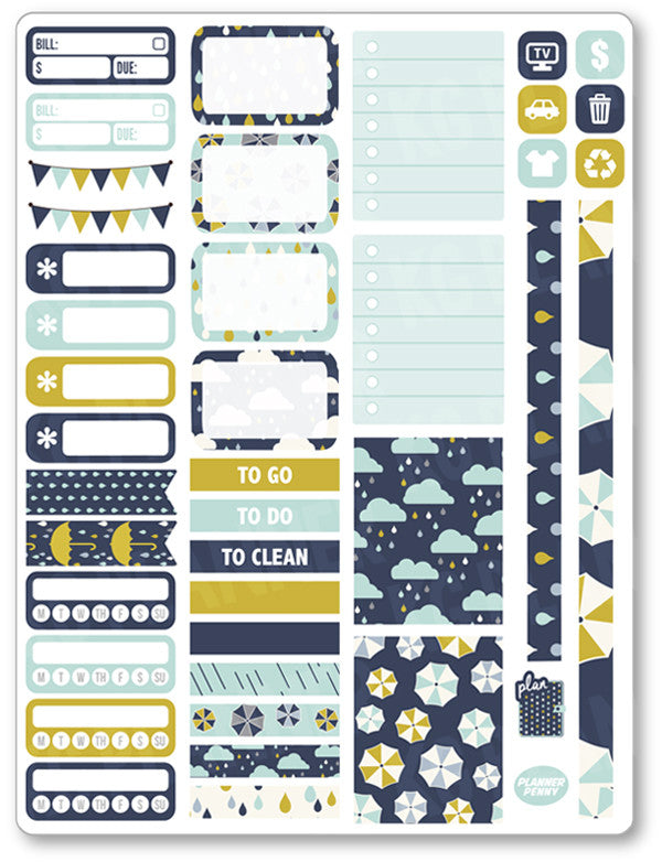 Rainy Day Functional Kit PDF PRINTABLE Planner Stickers - Planner Penny
