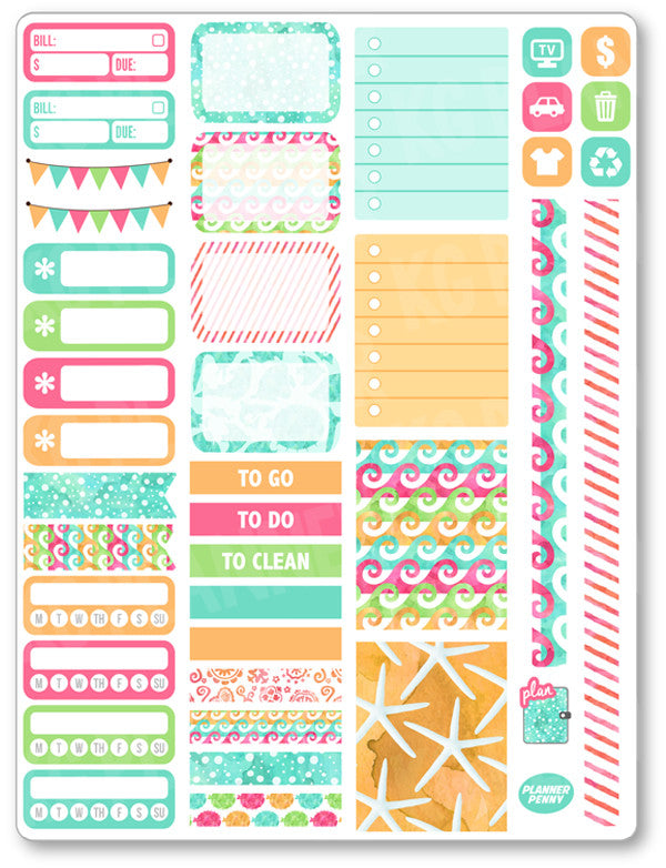 Sea Life Functional Kit PDF PRINTABLE Planner Stickers