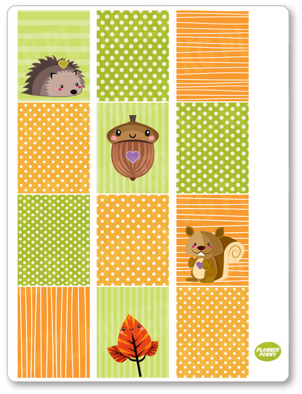Autumn Girl Full Boxes PDF PRINTABLE Planner Stickers - Planner Penny