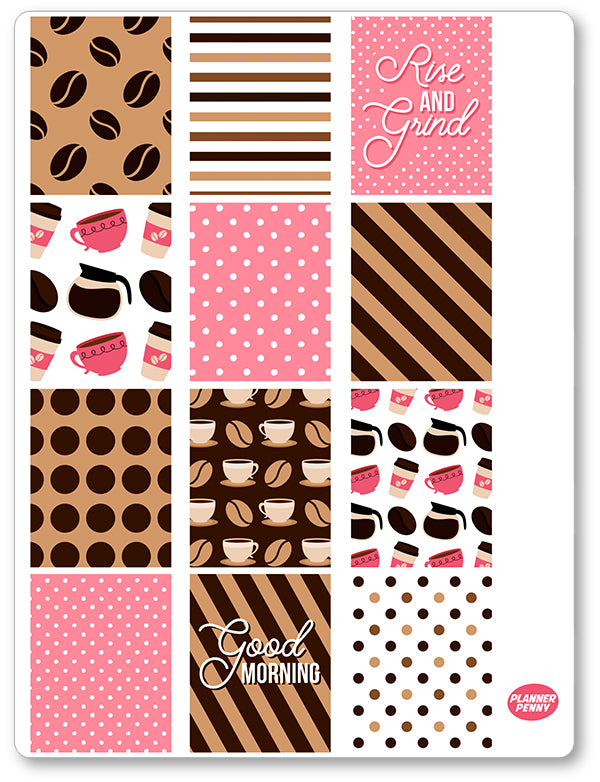 But First Coffee Full Boxes PDF PRINTABLE Planner Stickers - Planner Penny