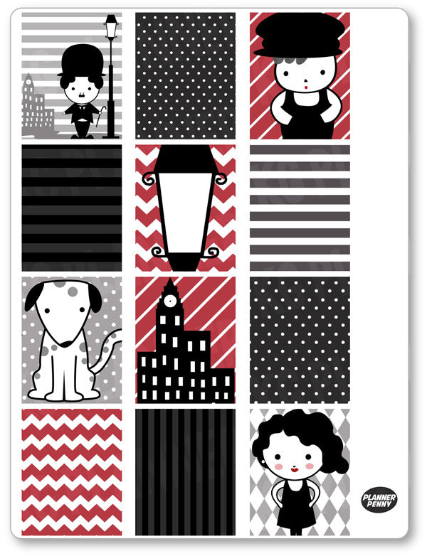 Chaplin Full Boxes PDF PRINTABLE Planner Stickers - Planner Penny