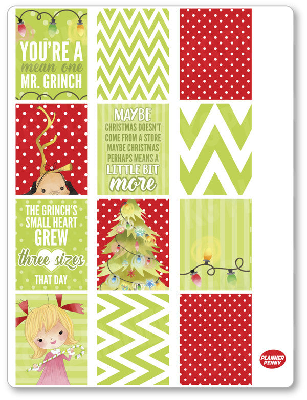 Christmas Grouch Full Boxes PDF PRINTABLE Planner Stickers - Planner Penny