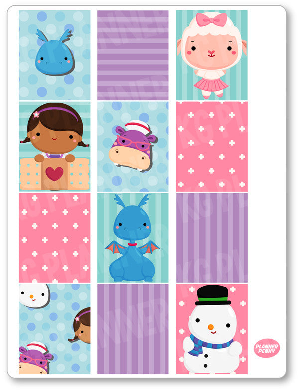 Doctor Girl Full Boxes PDF PRINTABLE Planner Stickers - Planner Penny