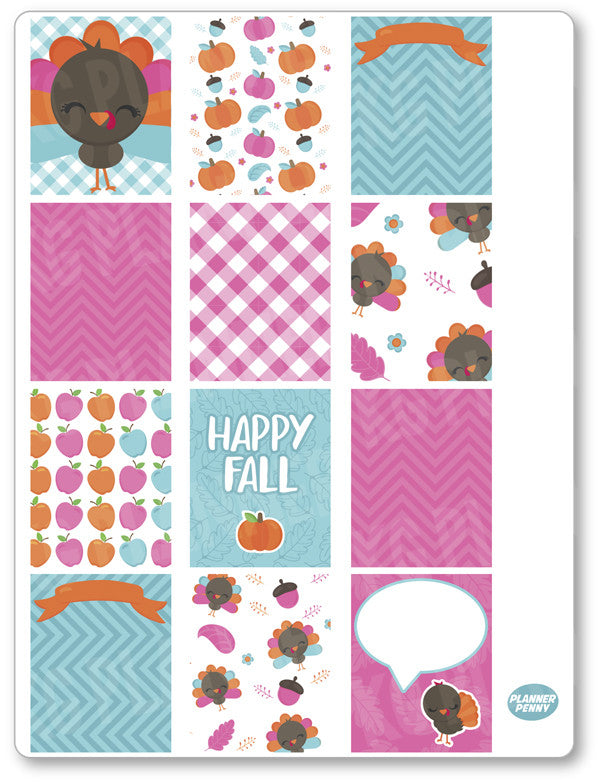 Gobble Gobble Full Boxes PDF PRINTABLE Planner Stickers - Planner Penny