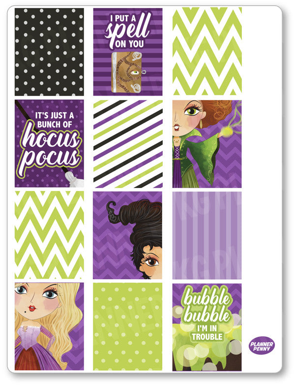 Hocus Pocus Full Boxes PDF PRINTABLE Planner Stickers - Planner Penny