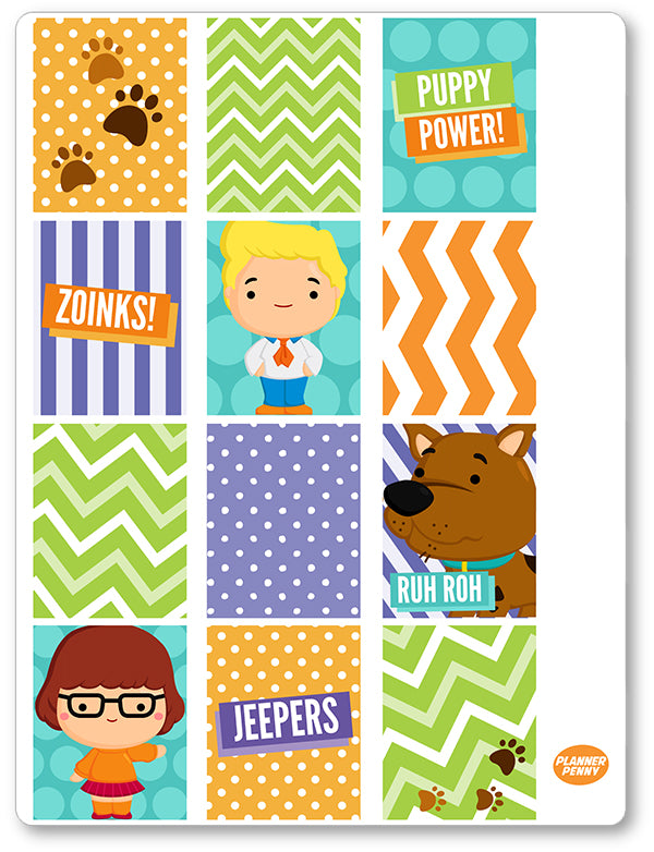 Mystery Crew Full Boxes PDF PRINTABLE Planner Stickers - Planner Penny