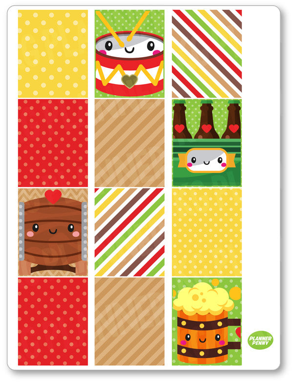 Oktoberfest Full Boxes PDF PRINTABLE Planner Stickers