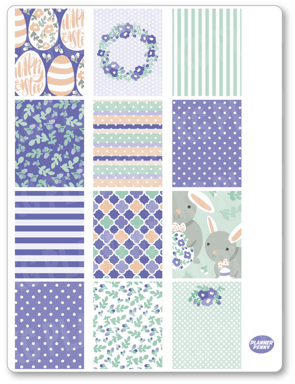 Purple Bunny Full Boxes PDF PRINTABLE Planner Stickers - Planner Penny