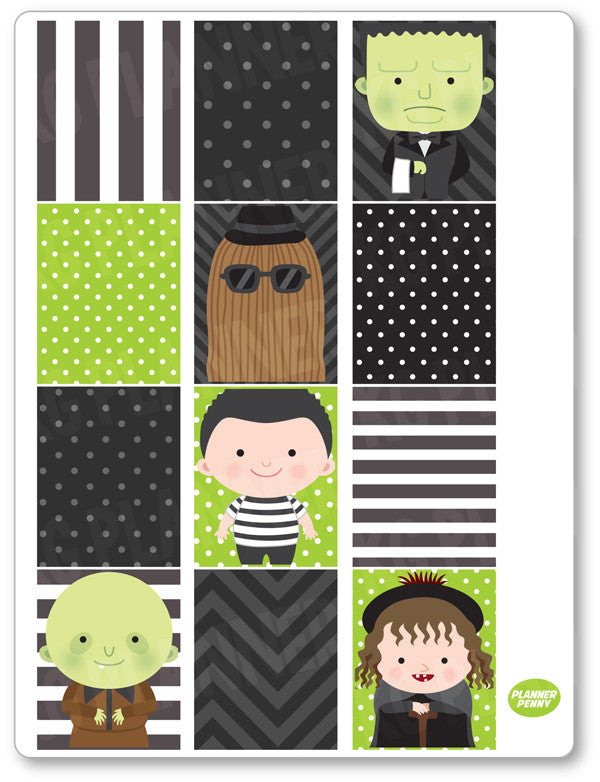 Spooky Family Full Boxes PDF PRINTABLE Planner Stickers