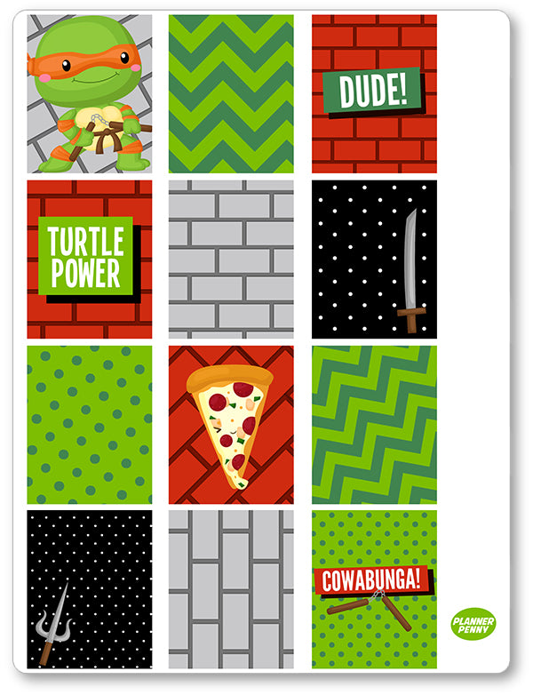 Turtle Ninjas Full Boxes PDF PRINTABLE Planner Stickers