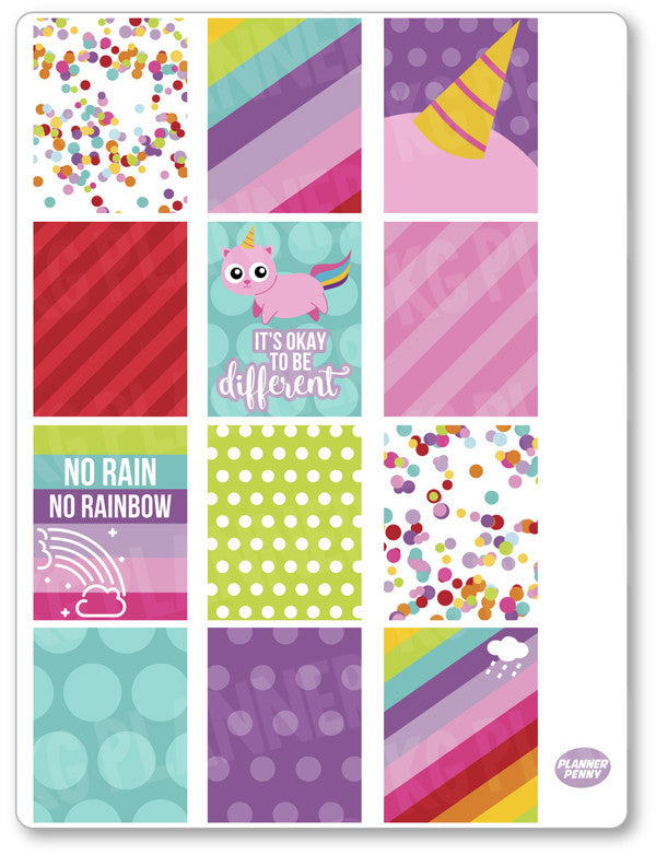 Unicorn Kitty Full Boxes PDF PRINTABLE Planner Stickers