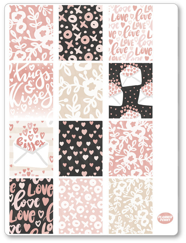 XOXO Full Boxes PDF PRINTABLE Planner Stickers - Planner Penny