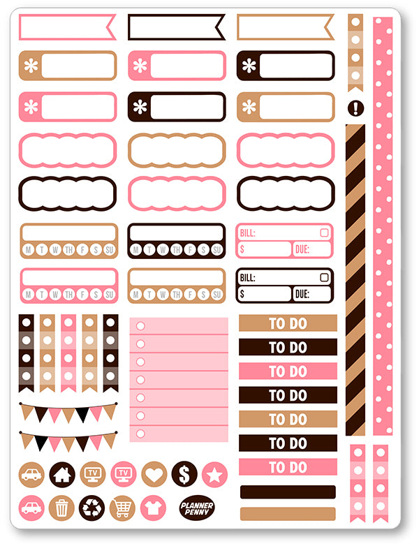 graphic about Printable Stickers named Yet 1st Espresso Useful PDF PRINTABLE Planner Stickers