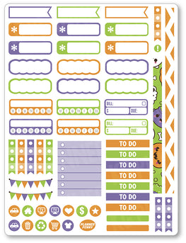 Kawaii Halloween Functional Planner Stickers - Planner Penny
