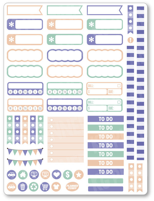 Purple Bunny Functional Planner Stickers