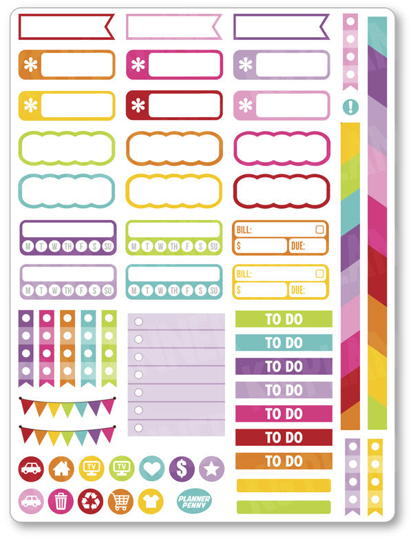 Unicorn Kitty Functional PDF PRINTABLE Planner Stickers