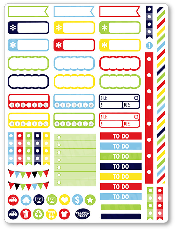 Winter Olympics BOY Functional Planner Stickers - Planner Penny