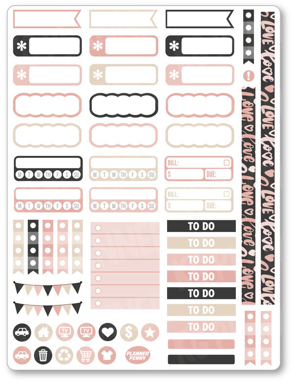 XOXO Functional PDF PRINTABLE Planner Stickers - Planner Penny