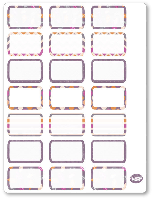 Purple Autumn Half Boxes PDF PRINTABLE Planner Stickers
