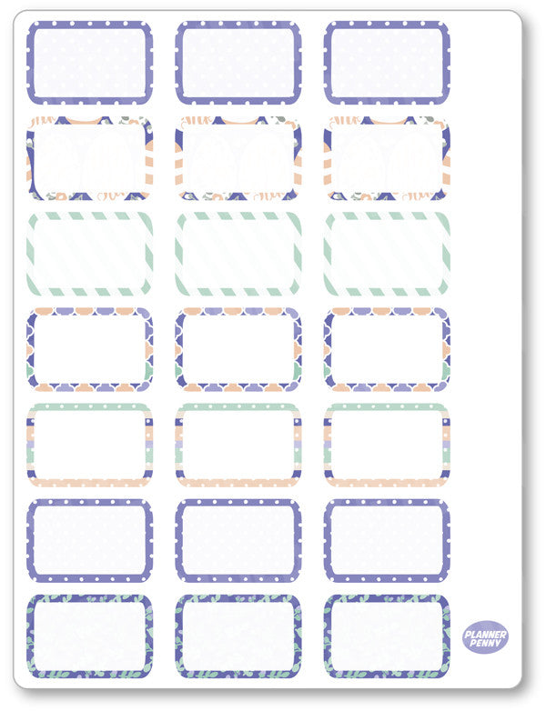 Purple Bunny Half Boxes PDF PRINTABLE Planner Stickers