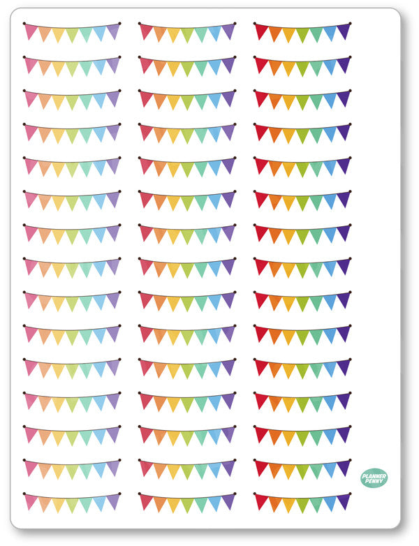 Mini Flag Banners Planner Stickers - Planner Penny
