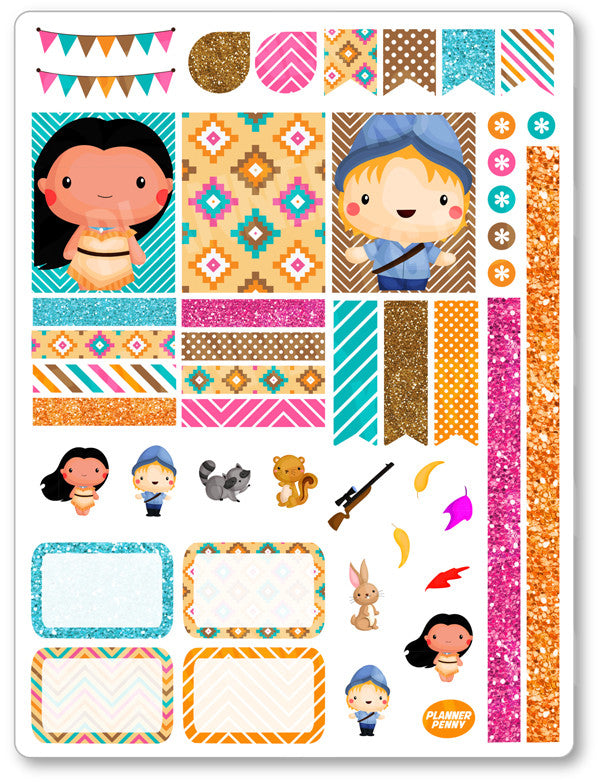 Native Princess Decorating Kit PDF PRINTABLE Planner Stickers - Planner Penny