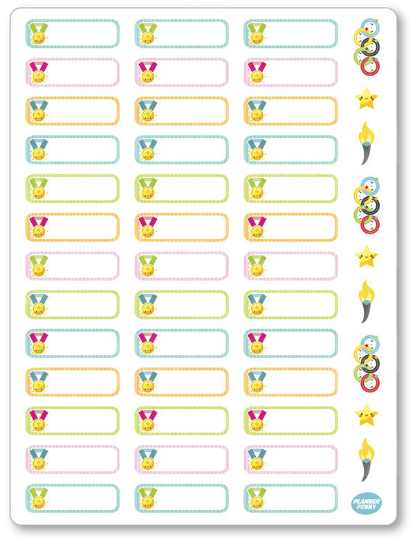 picture about Printable Olympic Schedule named Olympic Labels PDF PRINTABLE Planner Stickers