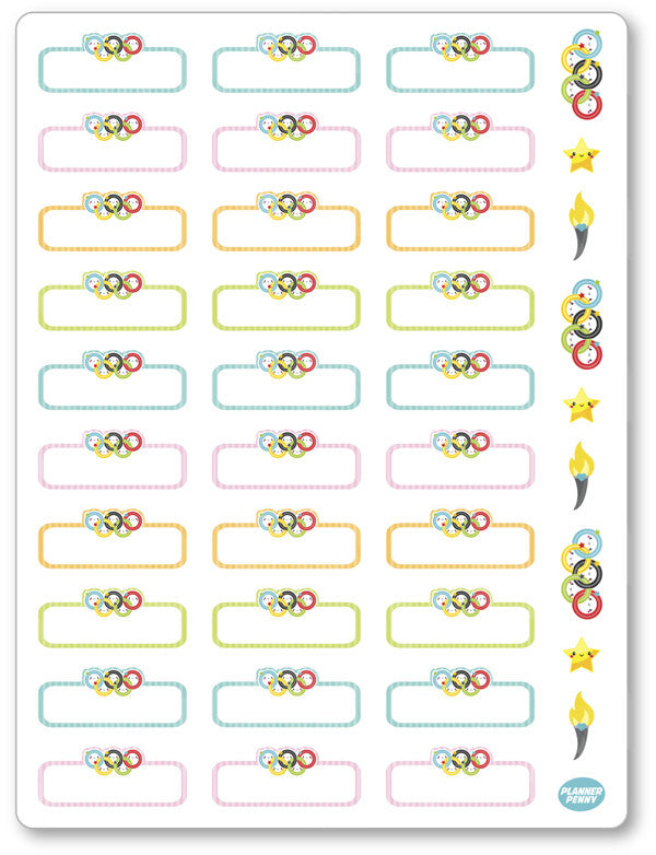Olympic Rings Labels Planner Stickers - Planner Penny