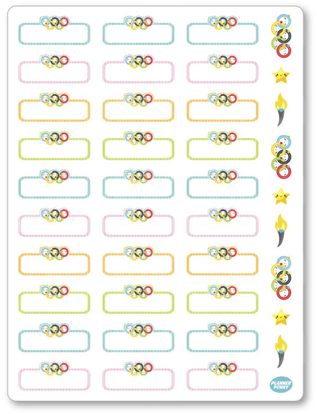 Olympic Rings Labels Planner Stickers