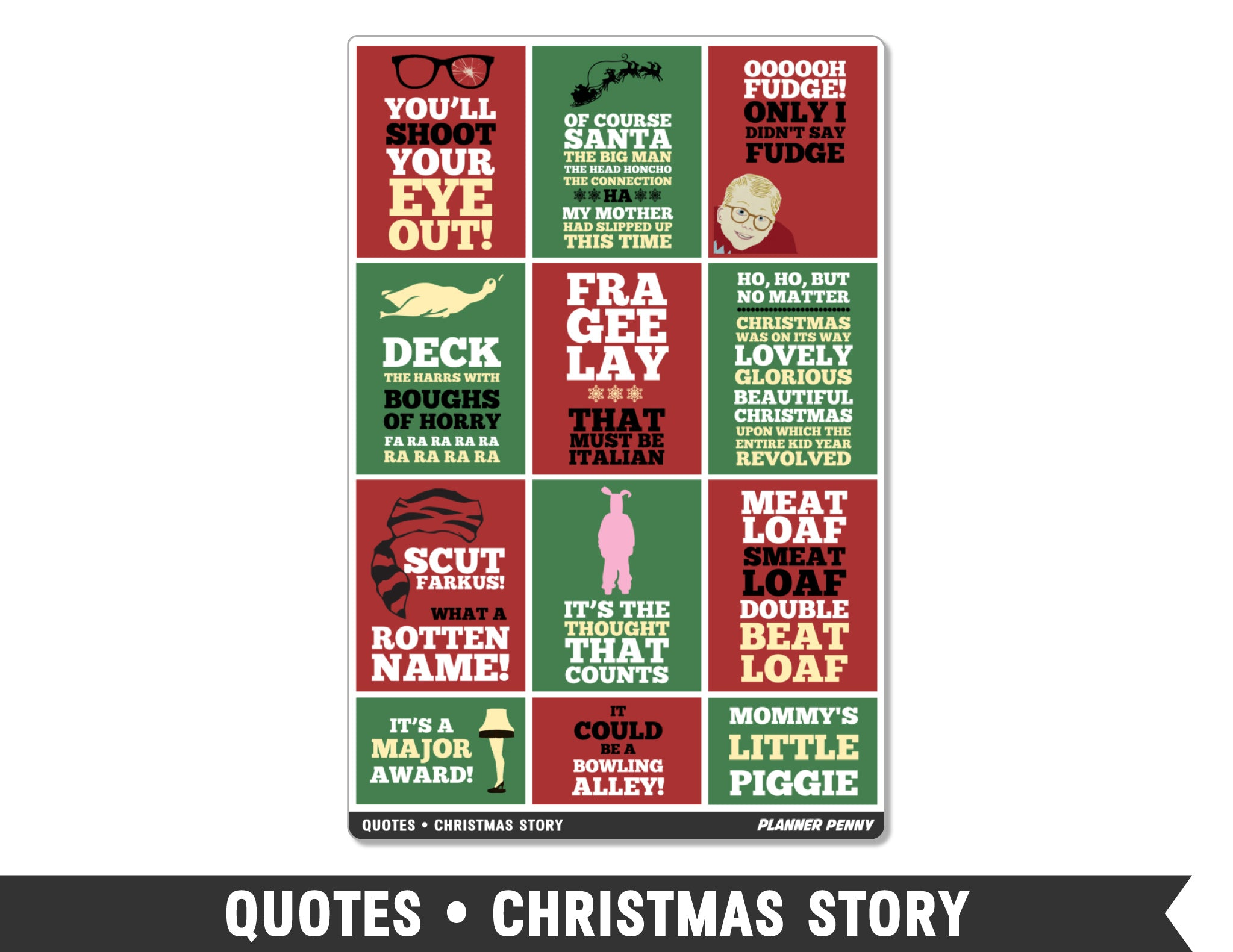 Quotes • Christmas Story Full Box Planner Stickers - Planner Penny