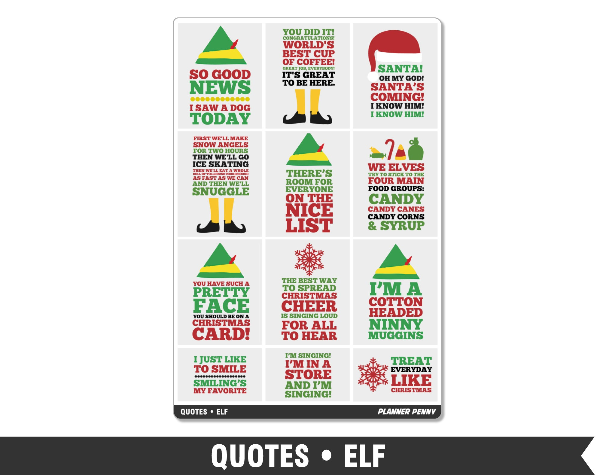 Quotes • Elf Full Box Planner Stickers - Planner Penny