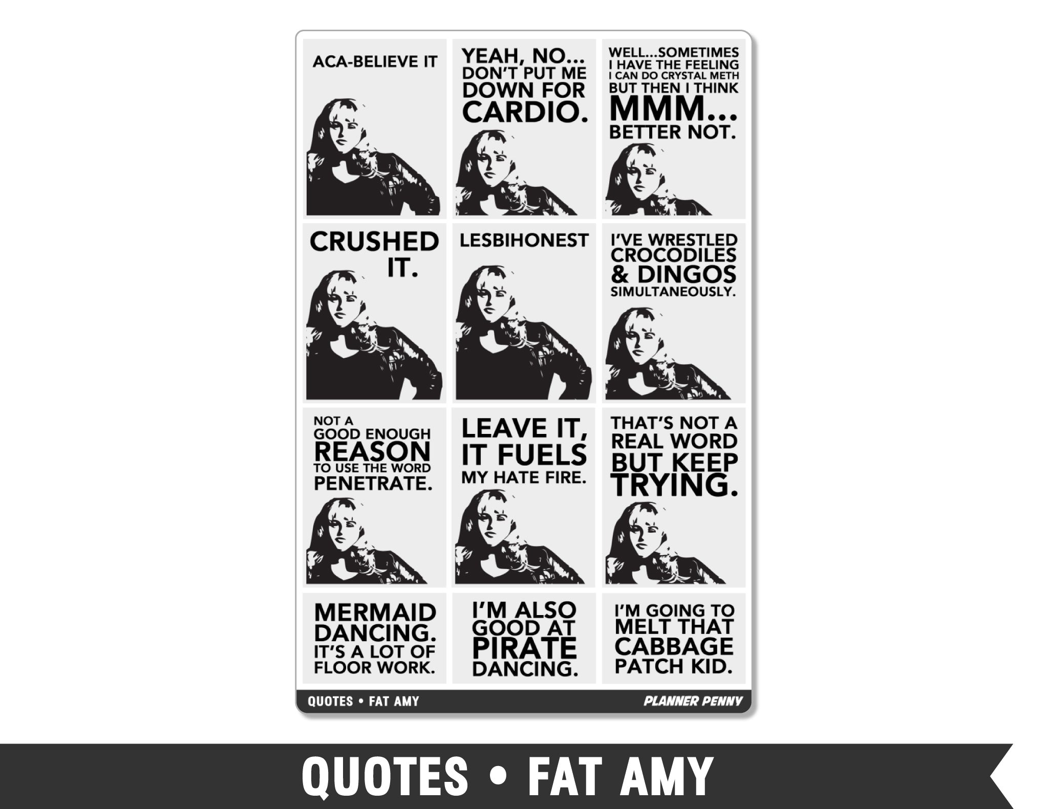 Quotes • Fat Amy Full Box Planner Stickers
