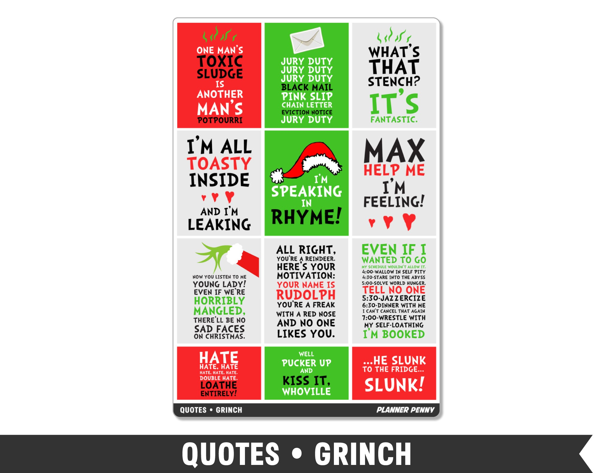 Quotes • Grinch Full Box Planner Stickers - Planner Penny