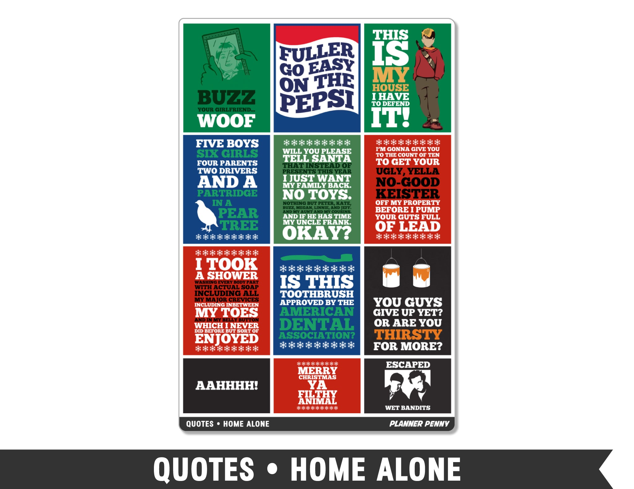 Quotes • Home Alone Full Box Planner Stickers