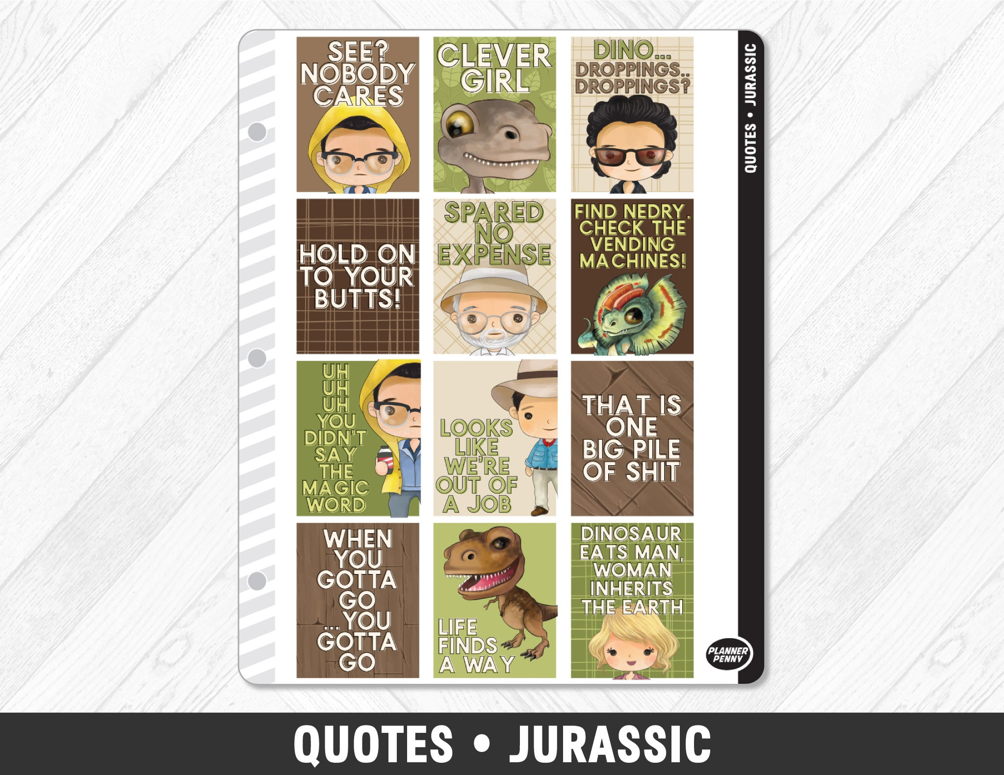 Quotes • Jurassic Full Box Planner Stickers