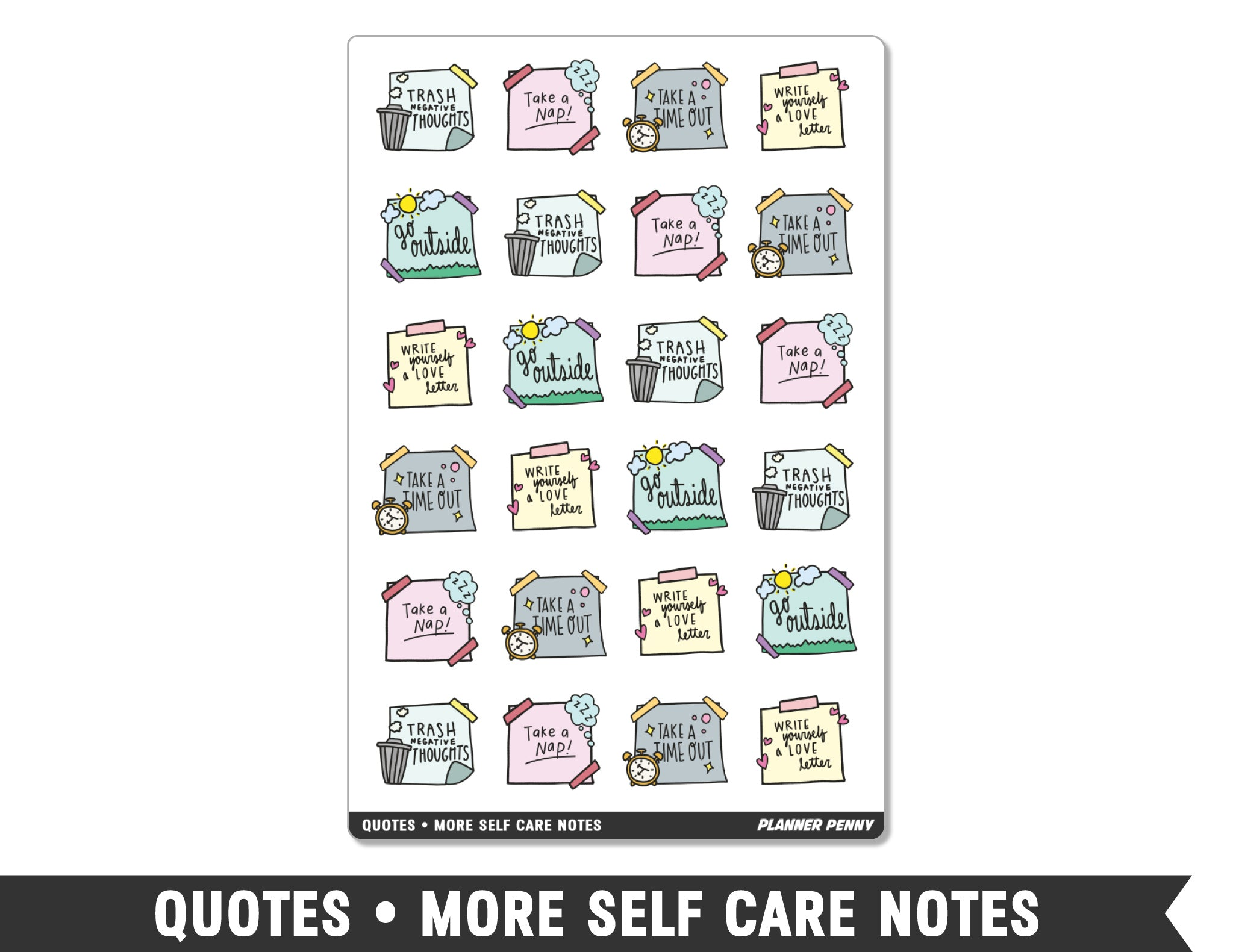 Quotes • More Self Care Notes Planner Stickers - Planner Penny