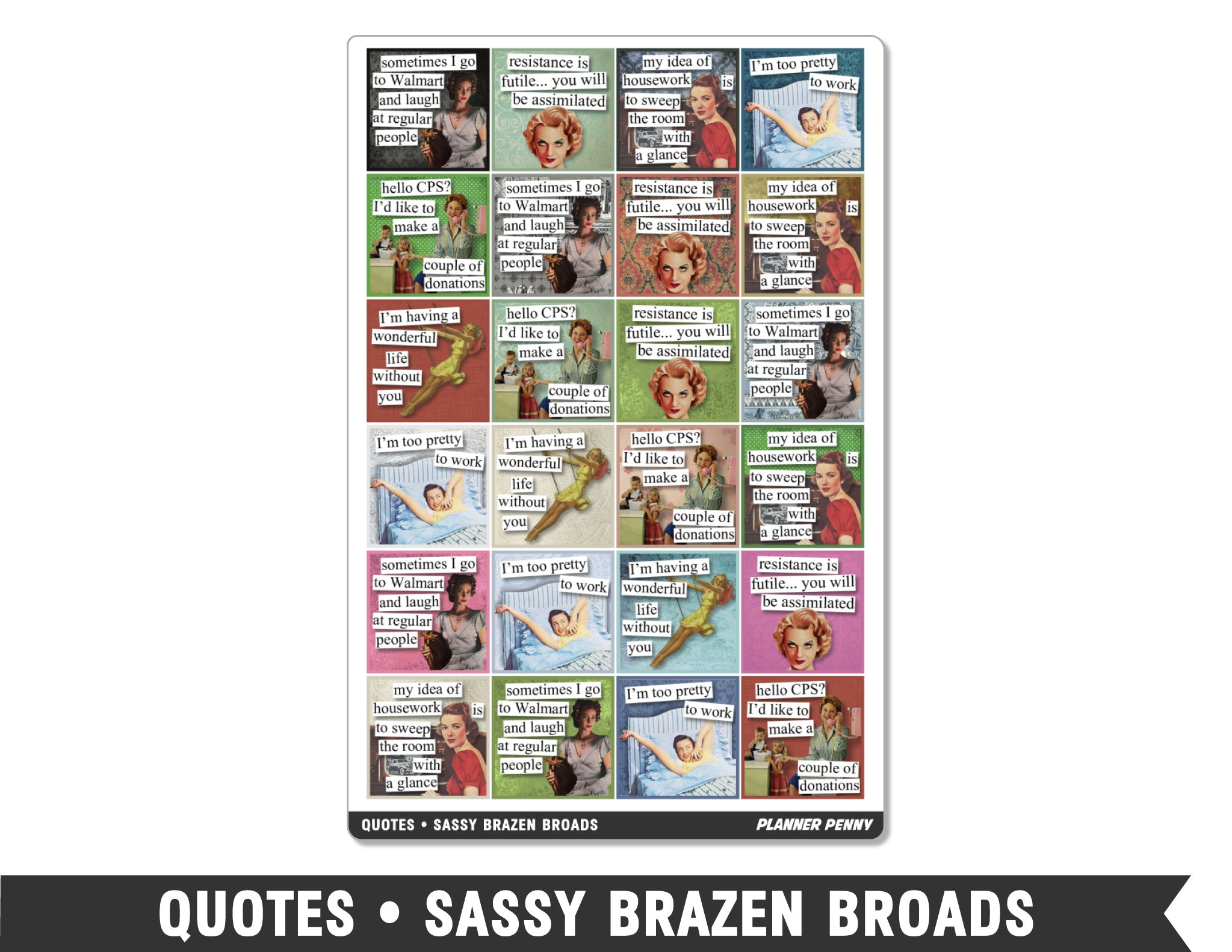 Quotes • Sassy Brazen Broads Planner Stickers - Planner Penny