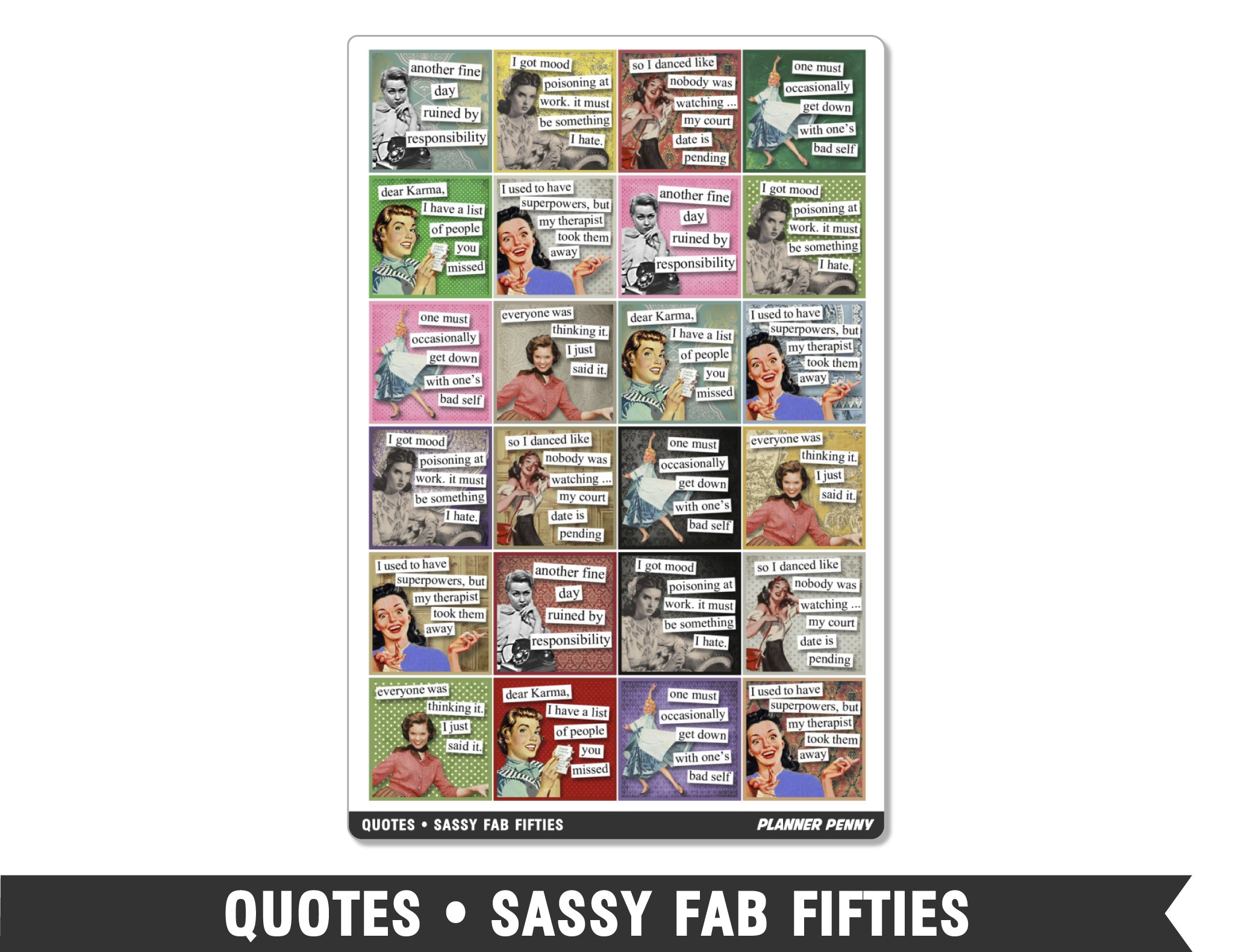 Quotes • Sassy Fab Fifties Planner Stickers