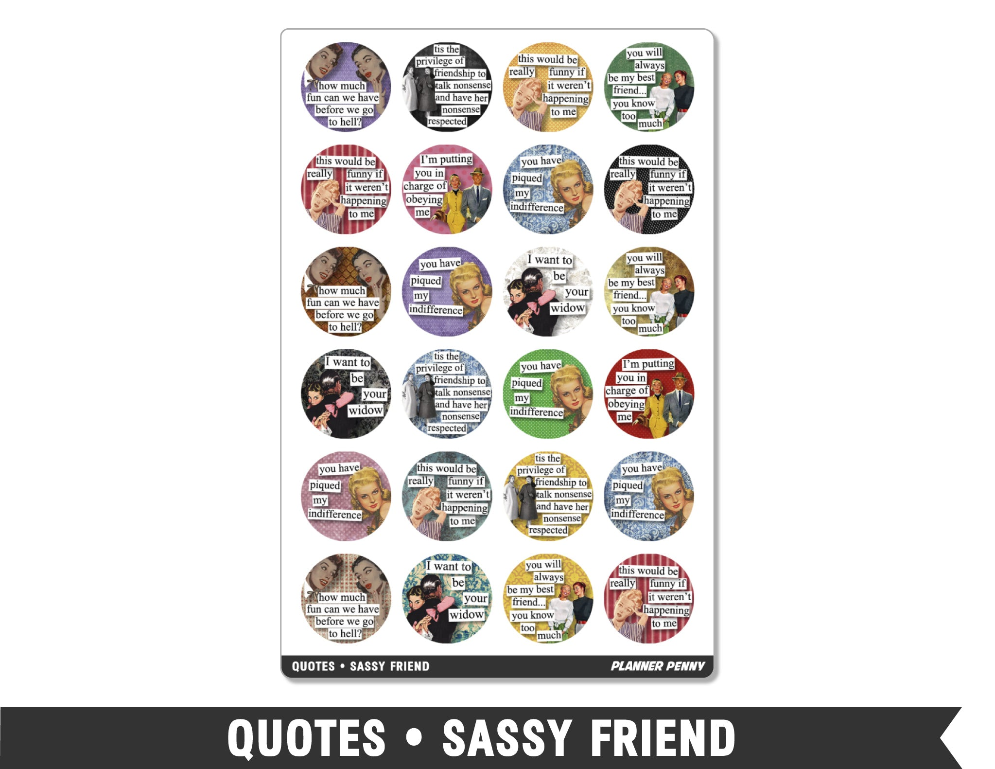 Quotes • Sassy Friend Planner Stickers - Planner Penny