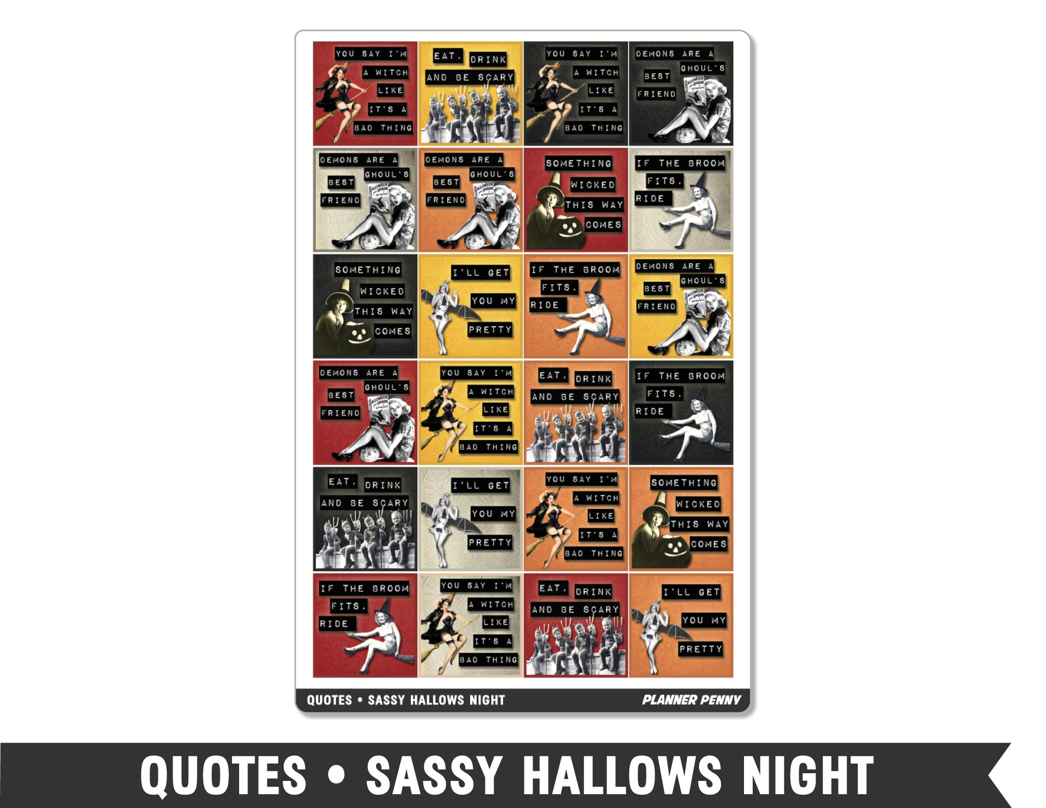 Quotes • Sassy Hallows Night Planner Stickers