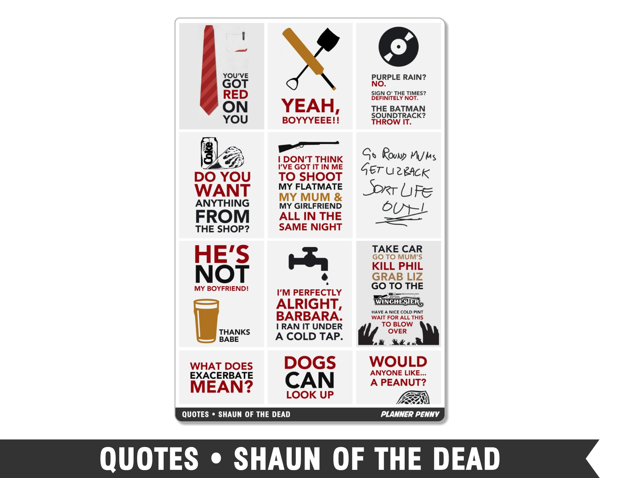 Quotes • Shaun of the Dead Full Box Planner Stickers - Planner Penny