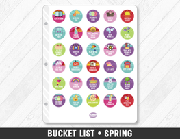 Spring Bucket List Planner Stickers