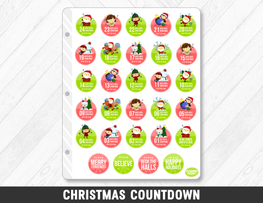 Christmas Countdown Planner Stickers - Planner Penny