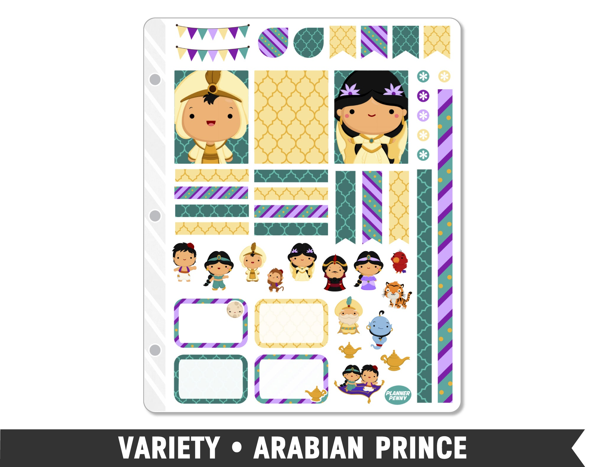 Variety • Arabian Prince Weekly Spread Planner Stickers - Planner Penny